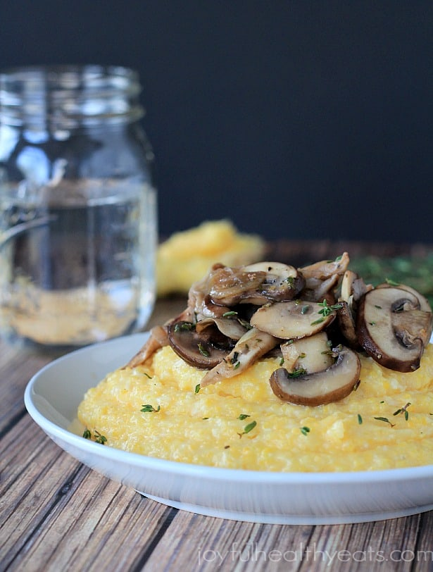 Creamy Parmesan Polenta with lemon thyme wild mushrooms 2