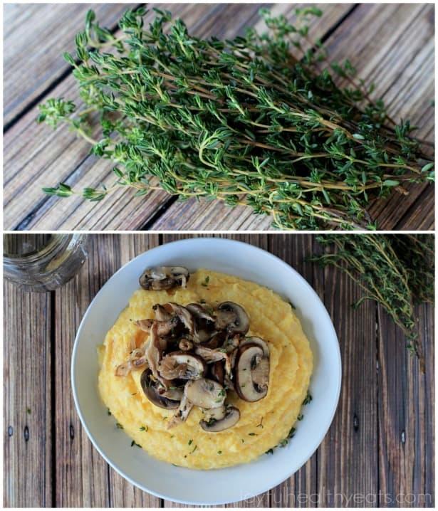 Creamy Parmesan Polenta with lemon thyme wild mushrooms #glutenfree #vegetarianrecipes #sidedishes
