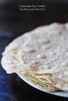 A stack of homemade flour tortillas