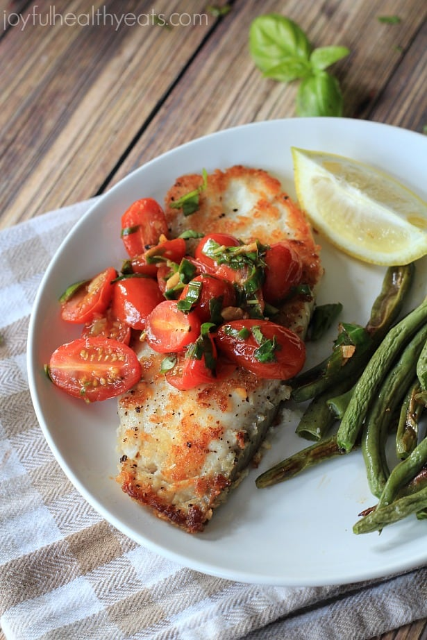 Panco Crusted Tilapia with Tomato Basil Sauce #fish #fresh #healthy #ad #lifeforless #pmedia