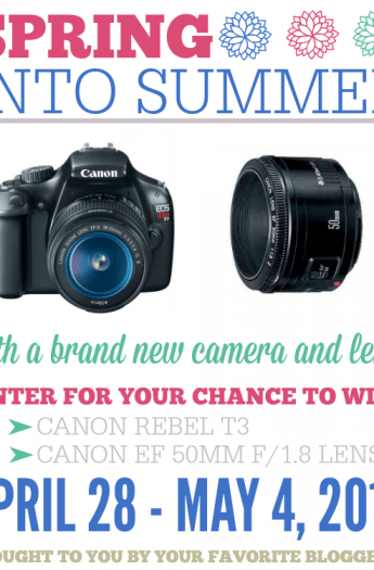 Spring into Summer Camera Giveaway - Canon Rebel T3 + 50mm Lens