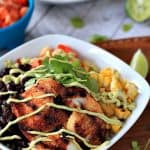 Grilled Tilapia Bowls with Chipotle Avocado Crema #quinoa #tilapiarecipes #avocado #texmex #seafood #chipotle