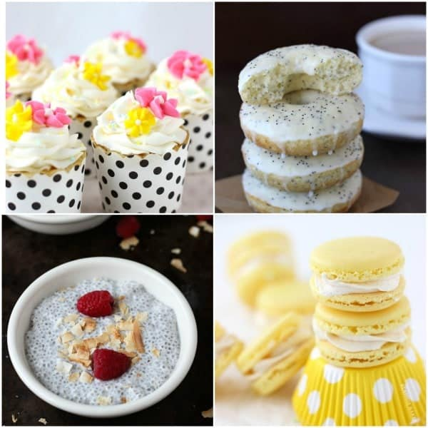 A collage of four treats including cupcakes, donuts, chia pudding, and macarons