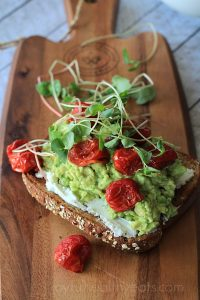 Image of an Mashed Avocado Goat Cheese Sandwich