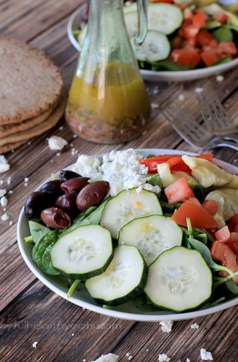 Mediterranean Salad with Homemade Greek Vinaigrette | www.joyfulhealthyeats.com | #saladrecipes #vegetarian #summer #glutenfree #meatlessmonday