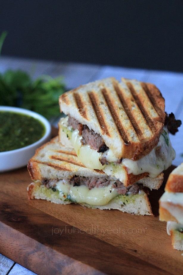 Steak & Cheese Panini with chimichurri sauce #sandwichrecipes #panini #beef #cheese #texmex