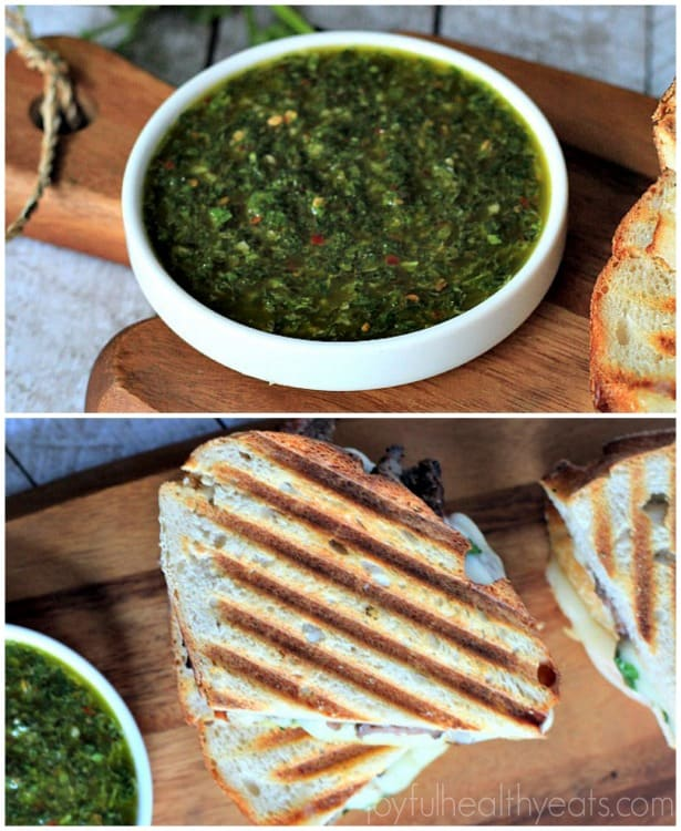 Steak & Cheese Panini with chimichurri sauce #sandwichrecipes #panini #beef #cheese #texmex