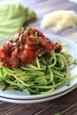 A close-up of a plate of Zucchini Noodles with Meat Mushroom Tomato Sauce