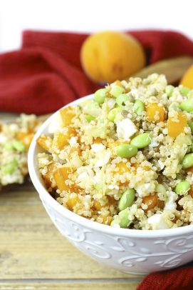 A serving bowl of Apricot and Edamame quinoa salad