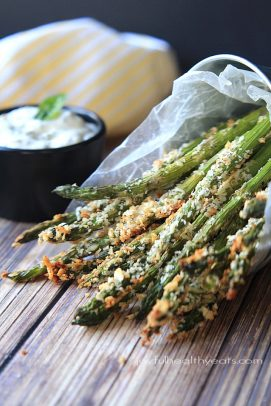 Crispy asparagus fries in a wax paper cone