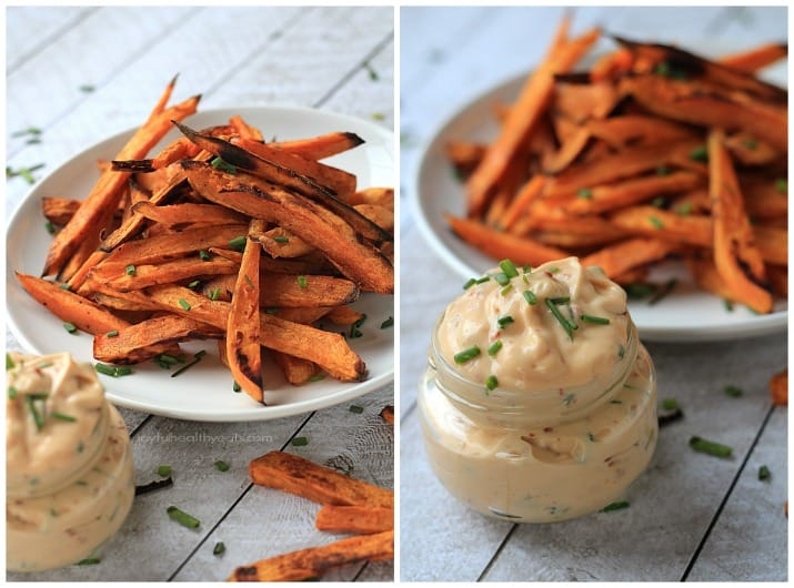 Crispy Baked Sweet Potato Fries with Chipotle Aioli