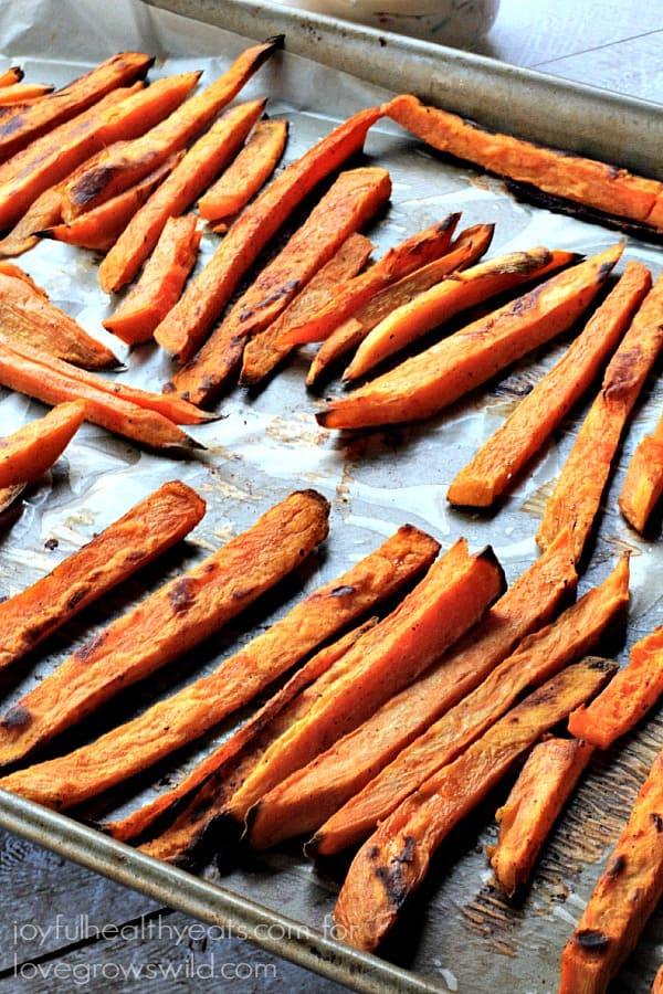 Baked Sweet Potatoes Fries served with a delicious Chipotle Lime Aioli ...
