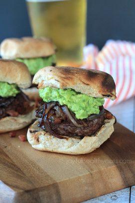 Gourmet Cowboy Hamburger Sliders with guacamole and a bun