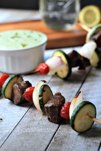 Image of Grilled Beef Kabobs with Avocado Cucumber Tzatziki