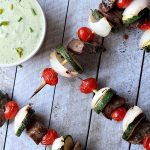 One of my favorite Grilling Recipes done in 30 minutes! Grilled Beef Kabobs with Avocado Cucumber Tzatziki #glutenfree #beef