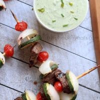 Grilled Beef Kabobs with Avocado Cucumber Tzatziki