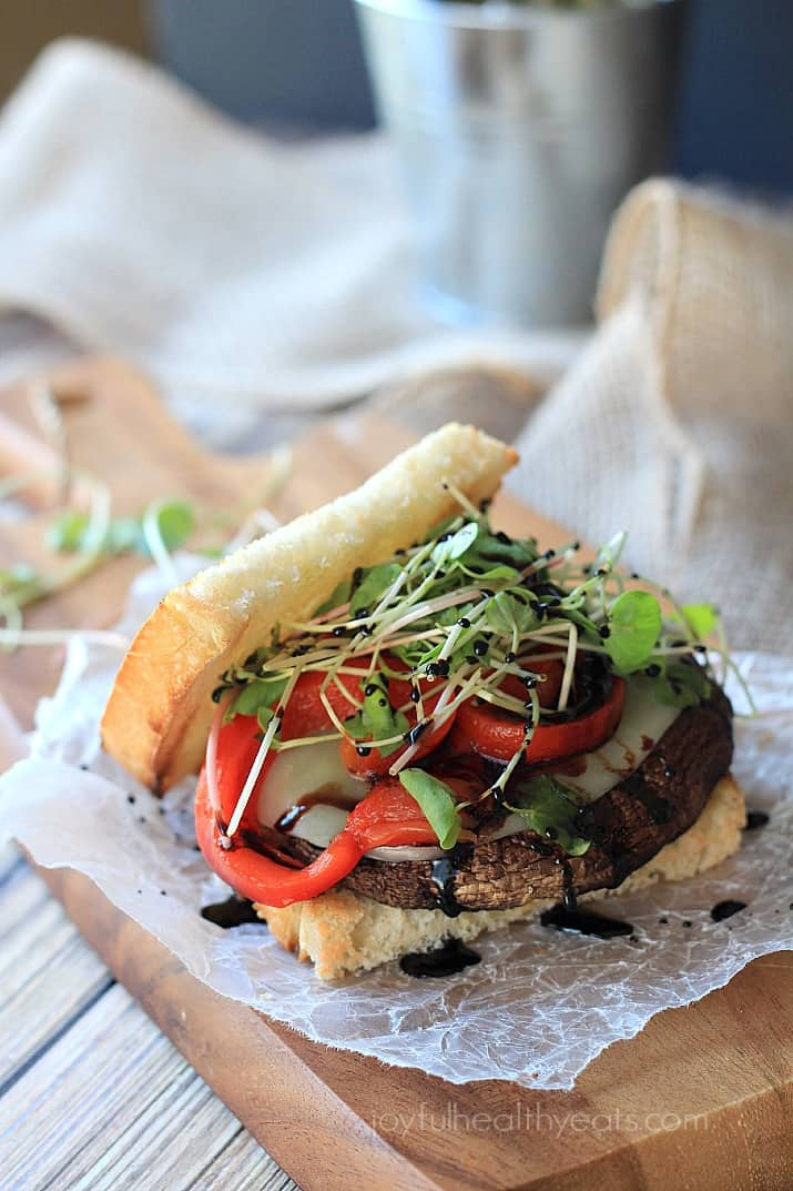 """Seriously the best """"faux burger"""" I have ever had! Grilled Portobello Burgers with Balsamic Reduction 