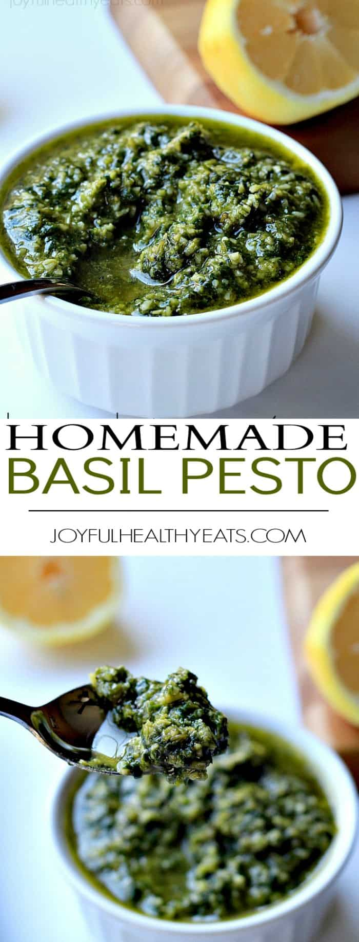 A basic light, fresh, and Herby Homemade Basil Pesto. {made in 5 minutes} | www.joyfulhealthyeats.com #recipes