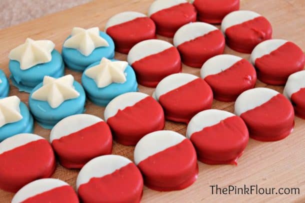 Dipped Oreo cookies decorated like American flag