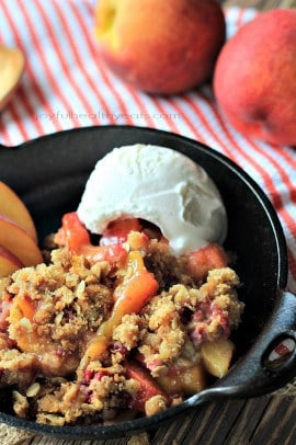 Raspberry Peach Cobbler for Two with an Oatmeal Pecan Crumble | www.joyfulhealthyeats.com