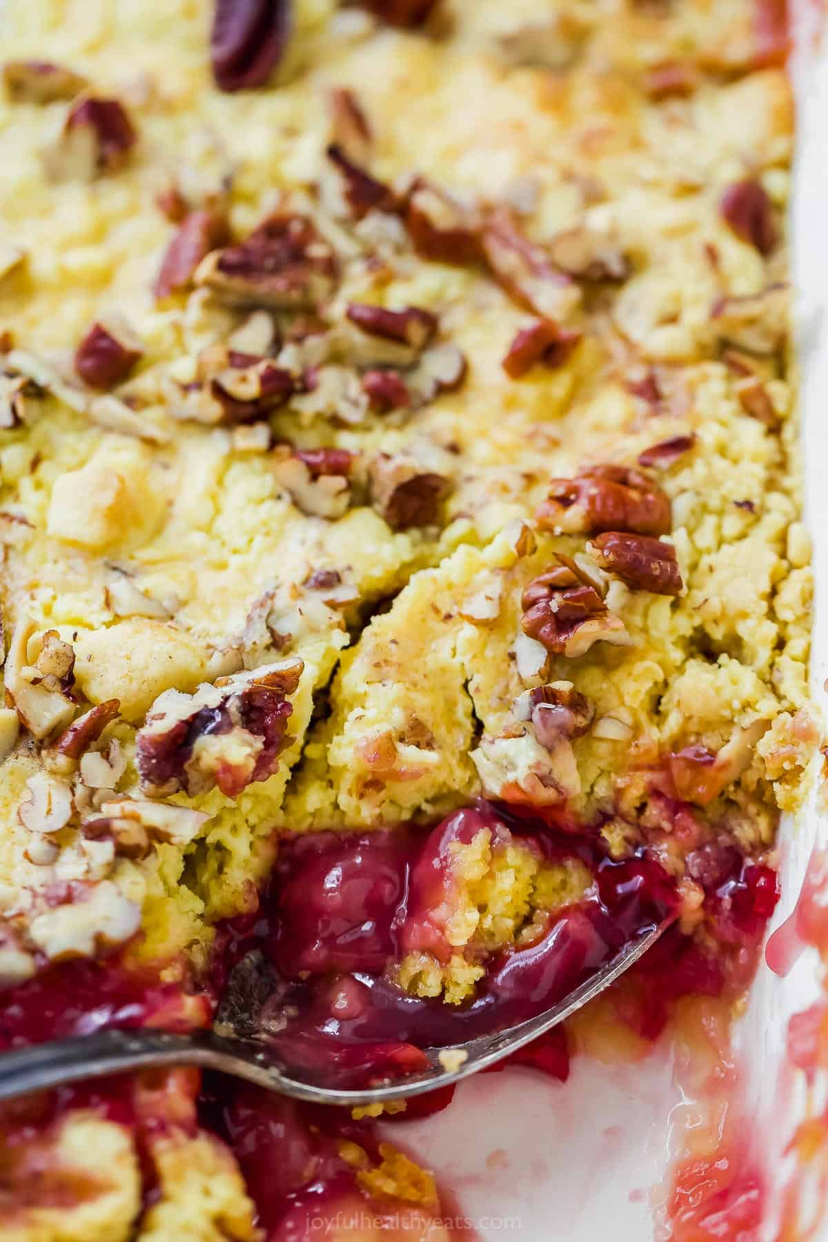 close up of pineapple cherry dump cake