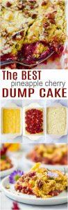 pinterest collage for pineapple cherry dump cake recipe