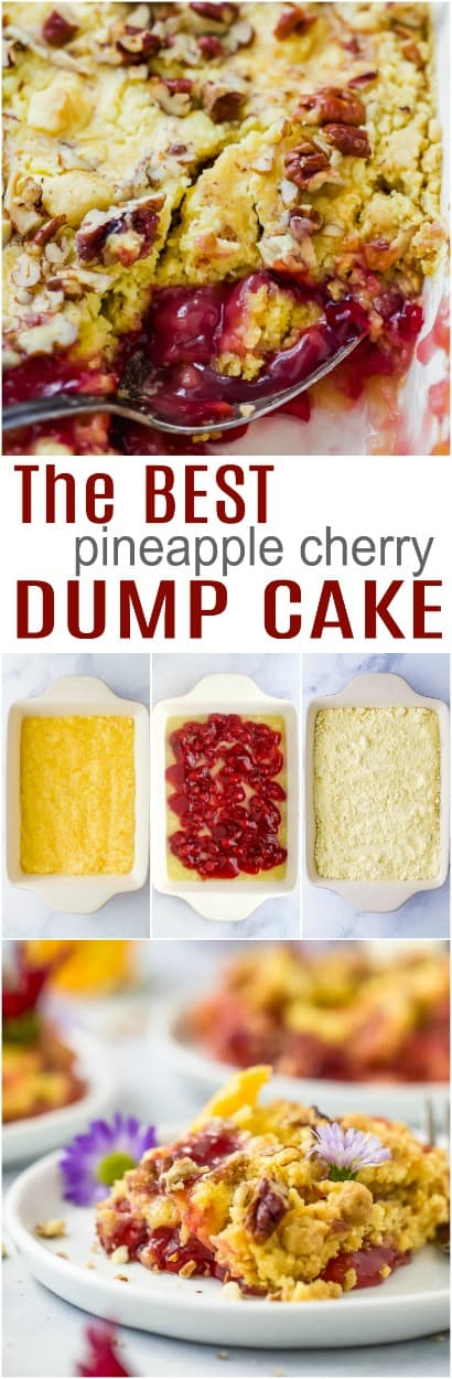 pinterest collage for pineapple cherry dump cake recipe
