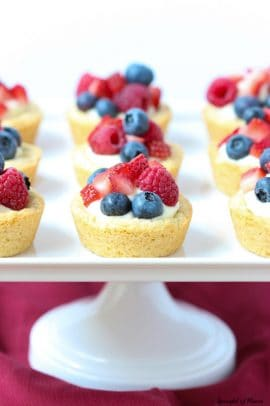 Triple Berry lemon cookie cups on a pedastal tray