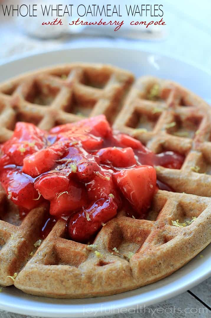 Close-up Image of a Whole Wheat Oatmeal Waffle with Strawberry Vanilla Compote