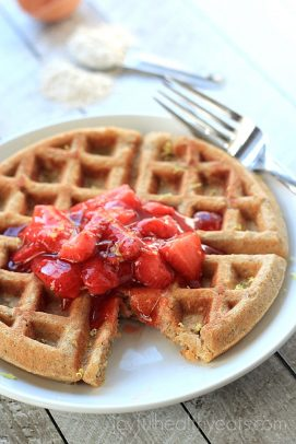 Image of a Whole Wheat Oatmeal Waffle with Strawberry Compote on a Plate
