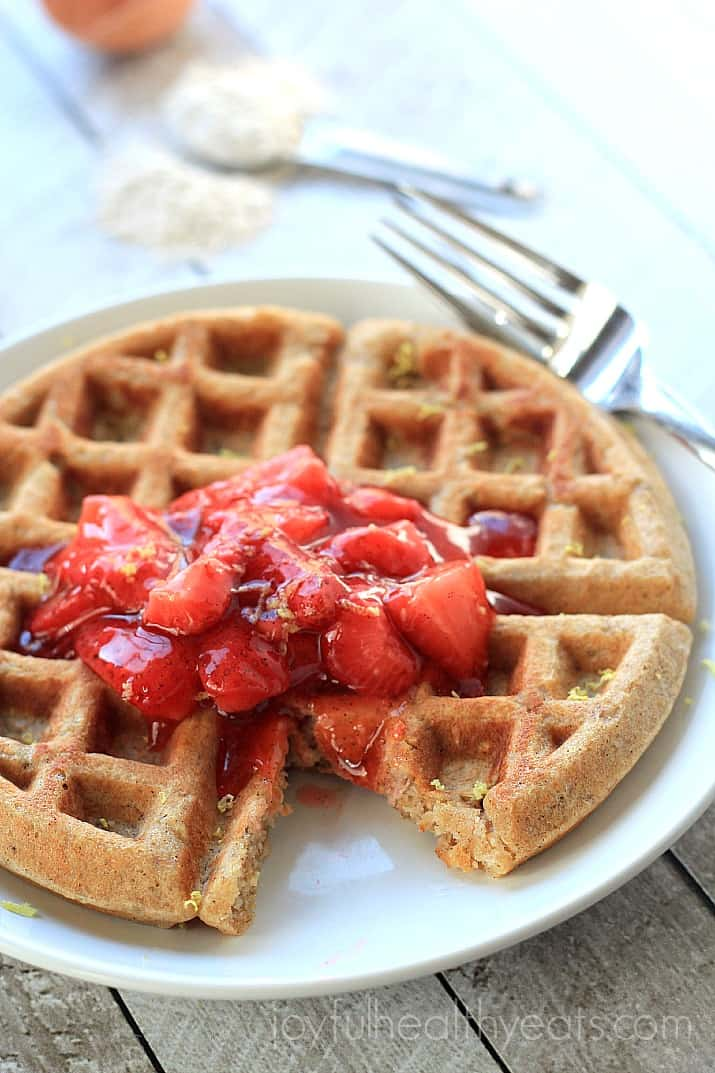 Image of a Whole Wheat Oatmeal Waffle with Strawberry Vanilla Compote on a Plate