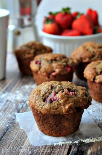 Moist Whole Wheat Strawberry Banana Muffins | www.joyfulhealthyeats.com