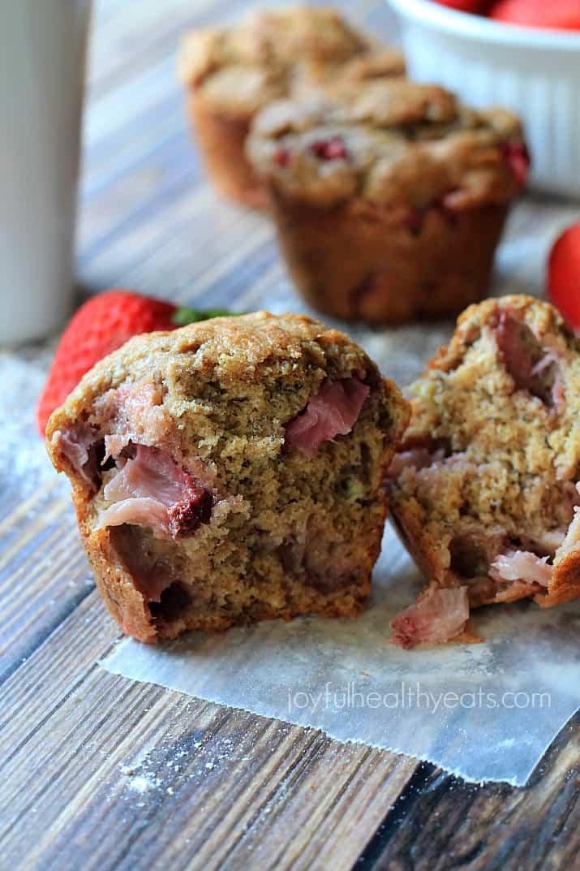 Moist Whole Wheat Strawberry Banana Muffins   www.joyfulhealthyeats.com