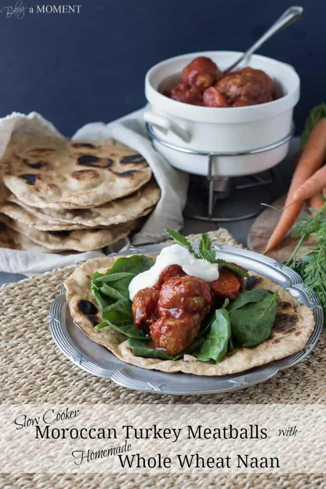 A Plate of Moroccan Turkey Meatballs with Homemade Whole Wheat Naan