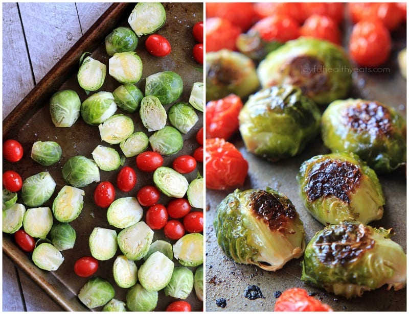 Brussels Sprouts and Grape tomatoes on a roasting pan