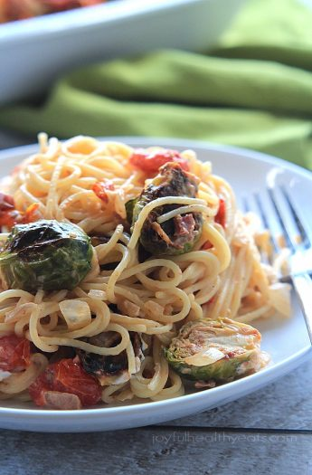 An easy & fancy Caramelized Brussels Sprouts Pancetta Pasta with Creamy Goat Cheese Sauce | www.joyfulhealthyeats.com