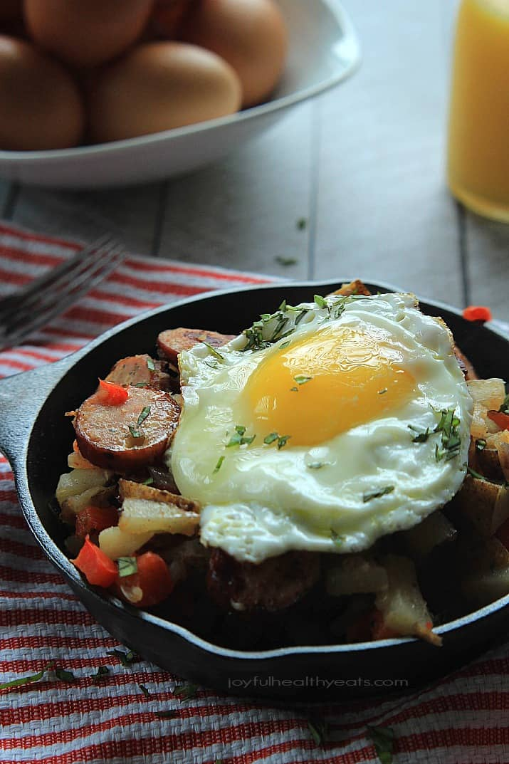 A quick easy and gluten free Chicken Sausage Potato Hash perfect for breakfast, lunch, or dinner! | www.joyfulhealthyeats.com