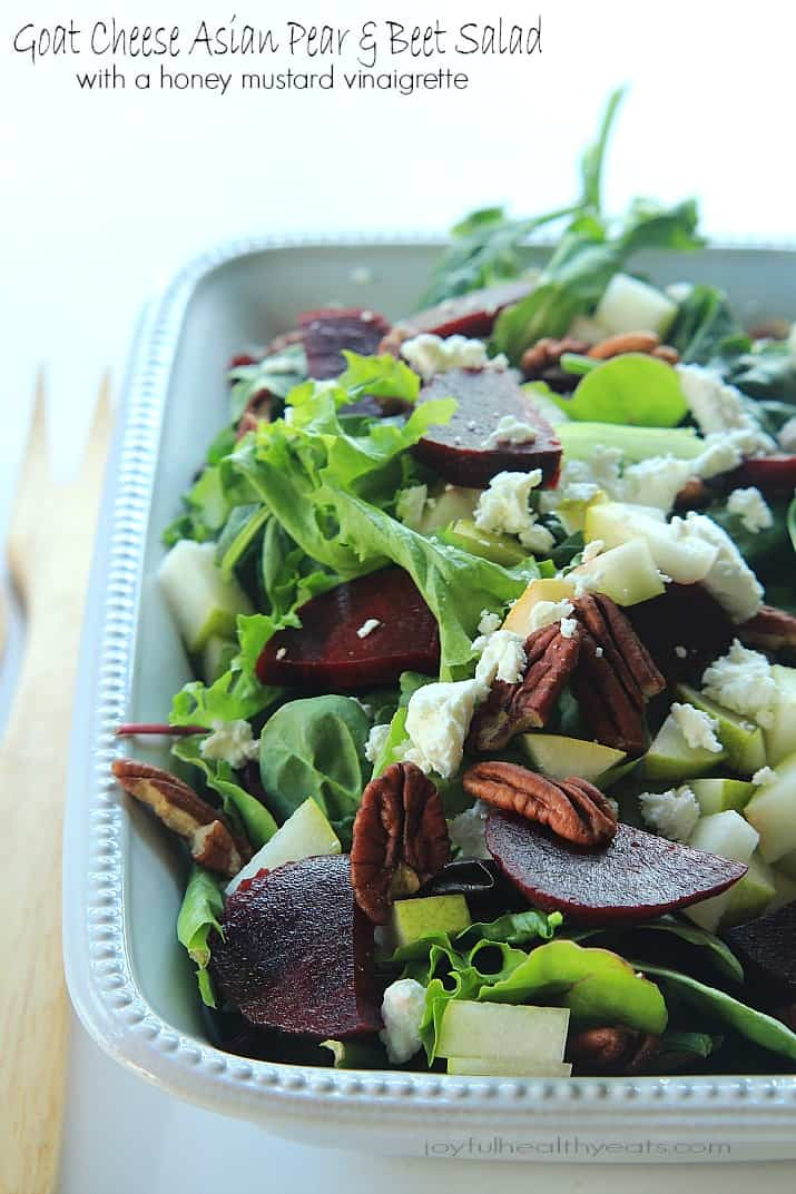 Goat Cheese Asian Pear & Beet Salad with Honey Mustard Vinaigrette recipe