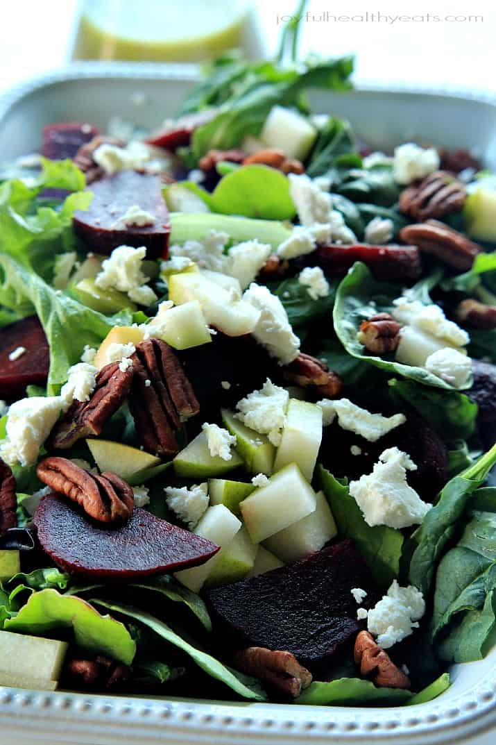 Close-up of Goat Cheese Asian Pear & Beet Salad with Honey Mustard Vinaigrette