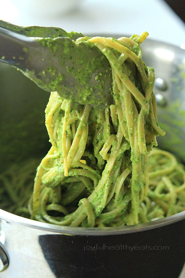 Pesto Pasta in a bowl with tongs