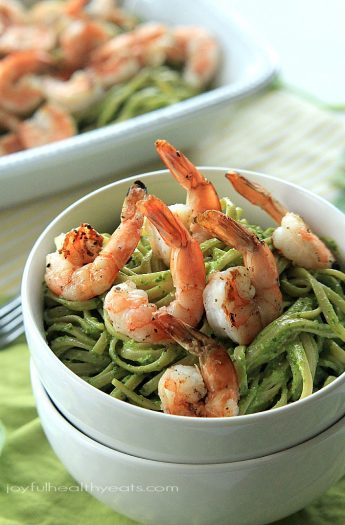 Easiest 30 minute fancy meal ever! Goat Cheese Spinach Pesto Pasta with Grilled Shrimp | www.joyfulhealthyeats.com