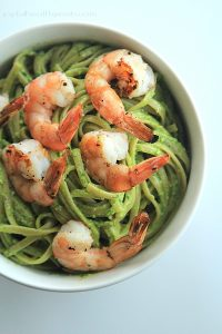 Image of Spinach Pesto Pasta with Grilled Shrimp