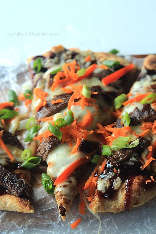 Grilled Asian Short Rib Pizza with Blackberry Hoisin Sauce, definitely one incredible pizza recipe!   www.joyfulhealthyeats.com