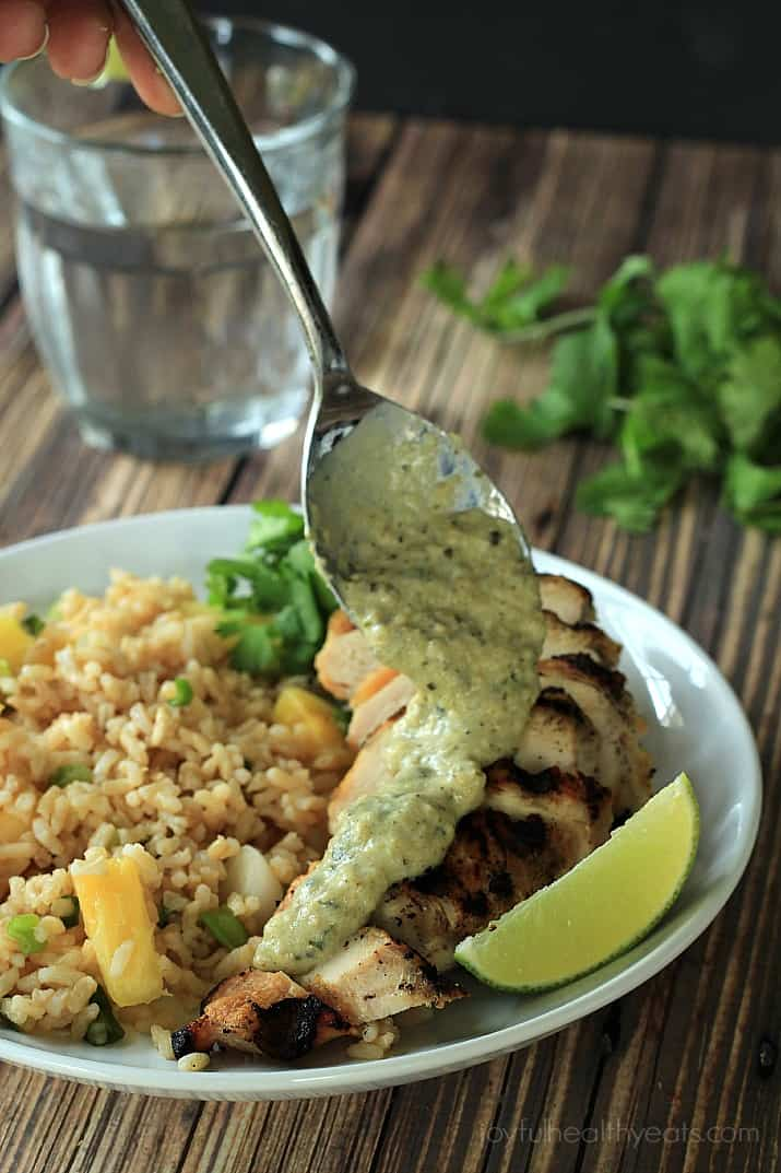 ... Men Cook Grilled Chicken With Tomatillo Roasted Poblano Cream Sauce