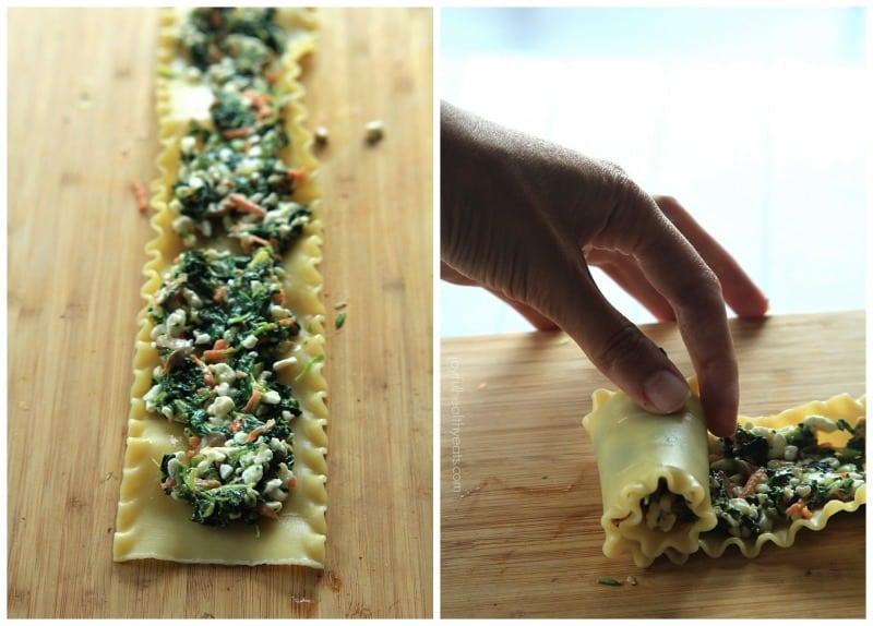 The Best and Healthiest Lasagna you will ever eat.. Skinny Vegetable Lasagna Rolls | www.joyfulhealthyeats #vegetarian