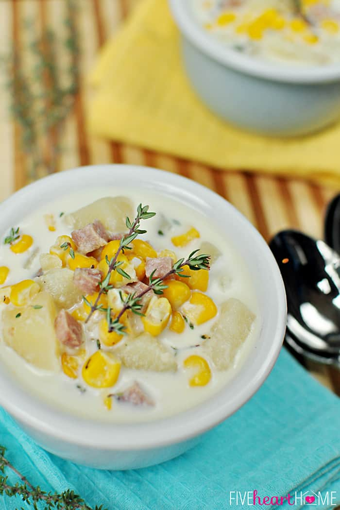 Slow Cooker Corn and Potato Chowder in a Soup Bowl
