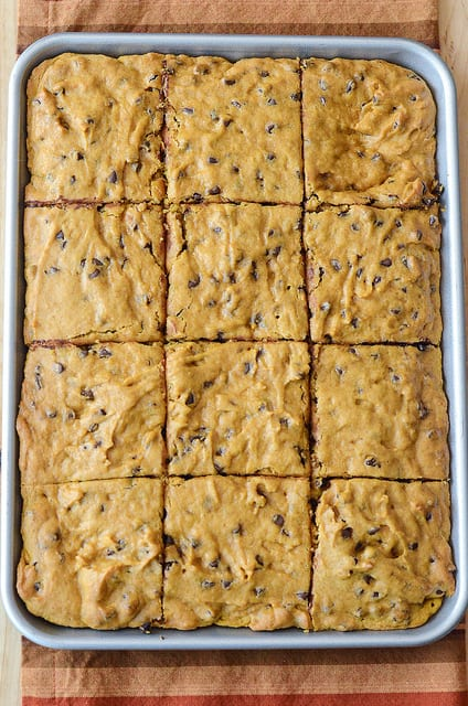 A Pumpkin Chocolate Chip Snack Cake in a Pan Cut into 12 Pieces