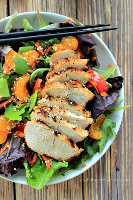 Asian chicken salad in a bowl