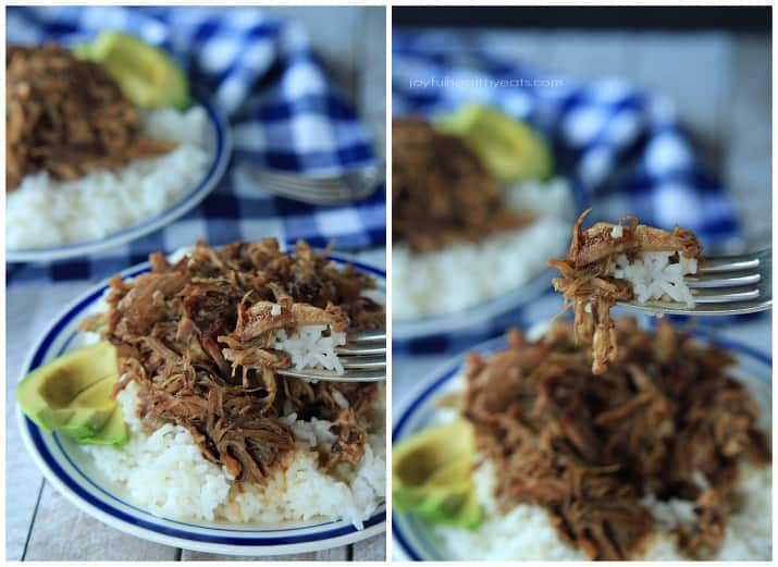 A forkful of Honey Balsamic Pulled Pork over a plate of pulled pork with white rice and sliced avocado