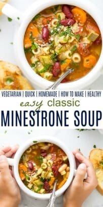 pinterest collage for easy classic minestrone soup